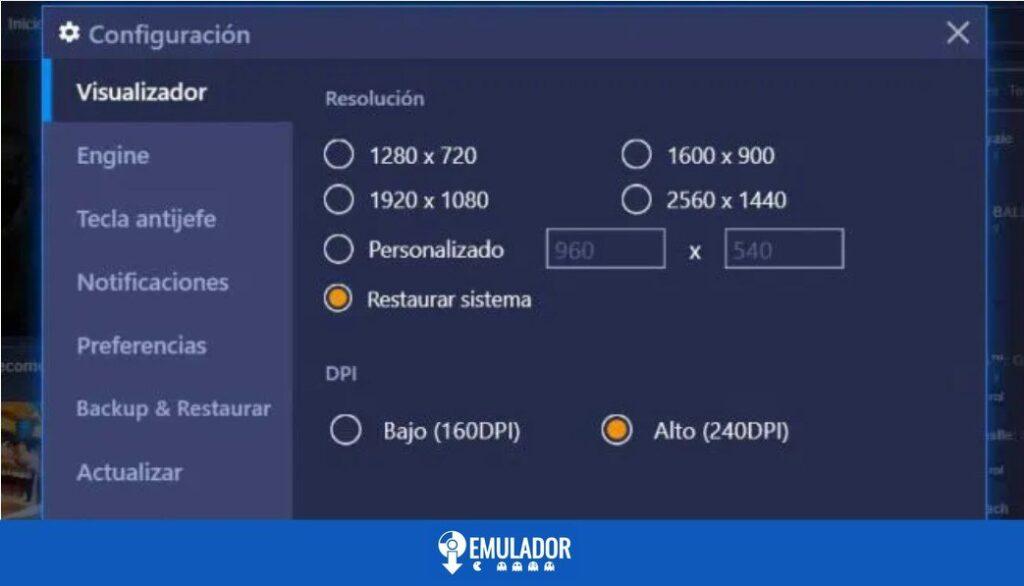 configuración bluestack